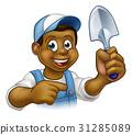 Cartoon Black Gardener Mascot 31285089