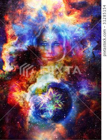 Goddess Woman with ornamental mandala and planet 31285154