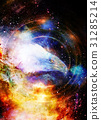 Eagle in cosmic space and light circle. 31285214