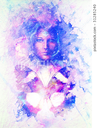 Goddess Woman and butterfly in Cosmic space 31285240