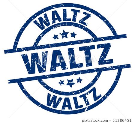 waltz blue round grunge stamp 31286451