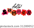 Hello Summer. Welcoming card with lettering 31289052