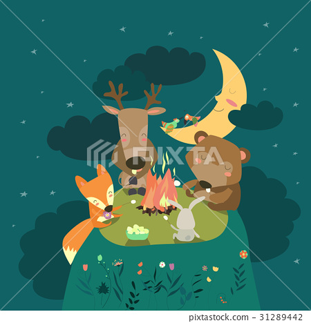 Animals resting around bonfire 31289442