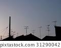 屋頂的黃昏的剪影 31290042