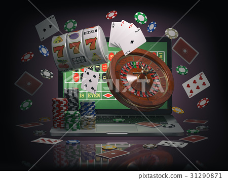 Online casino concept. Laptop with roulette 31290871