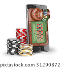Online casino concept. Mobile phone with roulette 31290872