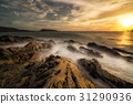 The boiling sea. - Sunset at patong beach in Phuket, Thailand ca 31290936