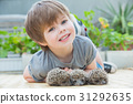 Little boy playing with hedgehog 31292635