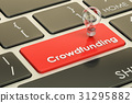 Crowdfunding concept on keyboard button 31295882