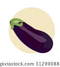 Flat styled illustration of an eggplant, melongene or brinjal. Aubergine isolated. Eggplant icon.  31299088