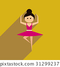 Flat web icon with long shadow ballet dancer 31299237