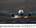 暮色 黄昏 飞机 31302217