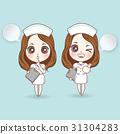 Cartoon nurse in white dress cute. have a smile  31304283
