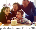 Photo Gradient Style with Family Celebrating Birthday Cake Smile Happy 31305206