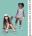 Children Girlfriends Smiling Happiness Friendship Togetherness Studio Portrait 31306514