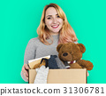 Woman Studio Portriat Casual Carrying a Box Isolated 31306781