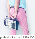 Crop photo of man colorful fashiion holding stereo 31307355