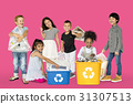 Diverse Group Of Kids Recycling Garbage 31307513