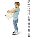 Ecology little boy holding bag of plastic bottle for recycle 31307878