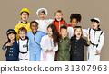 Group of Diverse Kids Wearing Career Costume Studio Portrait 31307963