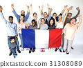 Group of people holding french flag studio portrait 31308089