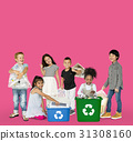 Diverse Group Of Kids Recycling Garbage 31308160