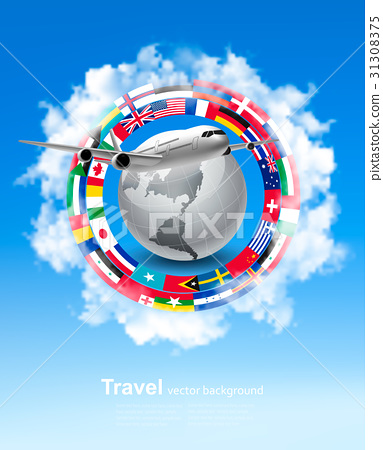 Travel background. Globe with a plane  31308375