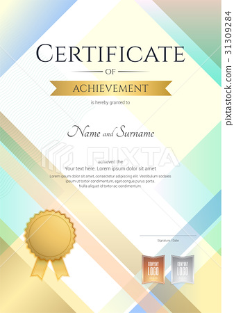 Portrait Modern Certificate Achievement Template Stock