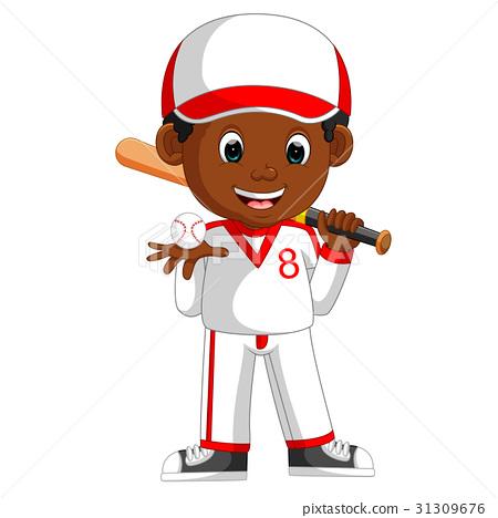 illustration of boy baseball player 31309676