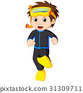 diver boy cartoon 31309711