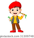 cute man painting with paintbrush 31309748