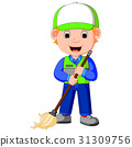 cleaner man with cleaning equipments 31309756