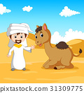 Illustration of Arab boy and a camel in the desert 31309775