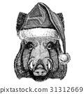 Aper, boar, hog, hog, wild boar wearing christmas 31312669