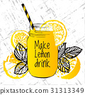 Ink hand drawn illustration with lemon drink 31313349