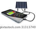 3d Illustration of phone charging and Solar 31313740