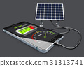 Phone charging and Solar Battery, isolated Black 31313741