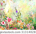 Abstract colorful flowers watercolor painting 31314028
