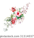 watercolor painting of leaves and flower, on white 31314037