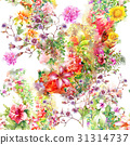 Watercolor painting of leaf and flowers, seamless 31314737