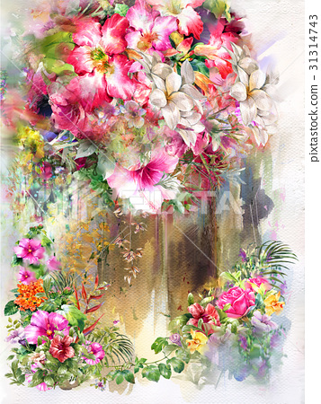 Abstract colorful flowers watercolor painting. 31314743