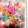 Abstract colorful flowers watercolor painting. 31314755