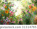 Abstract colorful flowers watercolor painting. 31314765