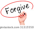 Man Hand writing Forgive with black marker  31315550