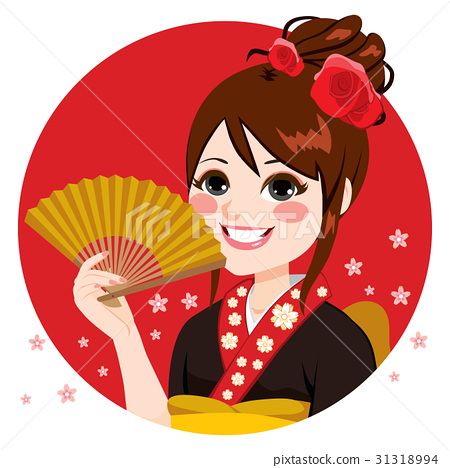 Japanese Woman Holding Fan 31318994