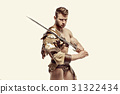 Muscular warrior with sword against of white 31322434