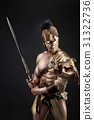 Severe barbarian in leather costume with sword 31322736