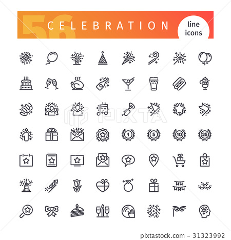 Celebration Line Icons Set 31323992