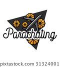 Color vintage parachuting emblem 31324001