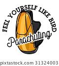 Color vintage parachuting emblem 31324003